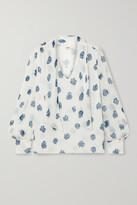 Thumbnail for your product : Jason Wu Tie-neck Floral-print Silk-crepon Blouse - Ecru