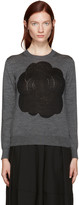 Comme des Garcons Grey Intarsia Flower Pullover