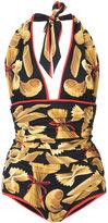 Dolce & Gabbana Pasta printed swimsuit - women - Nylon/Spandex/Elastane - 3