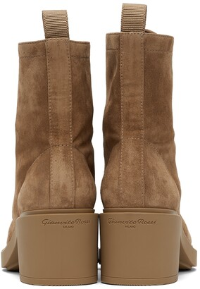 Gianvito Rossi Tan Suede Foster Lace-Up Boots
