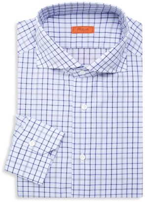 Isaia Slim-Fit Checker Dress Shirt