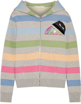 Marc Jacobs Appliquéd Striped Jersey Hooded Top - Gray