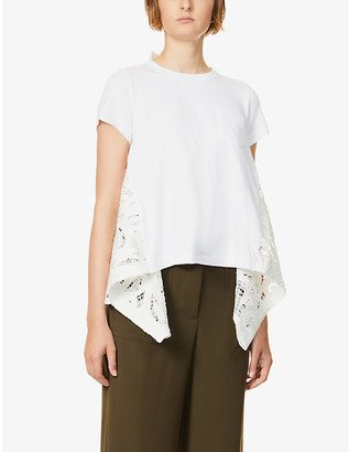 Sacai Contrast-panel cotton-jersey and lace T-shirt