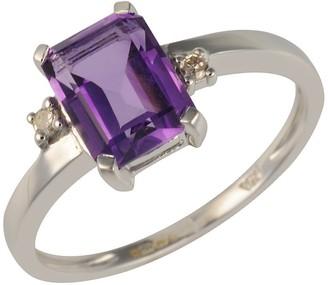 Ivy Gems 9ct White Gold Emerald Cut Amethyst & Diamond Art Deco Style Ring - Size P