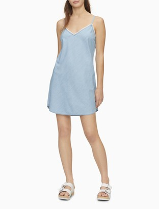 Calvin Klein Solid V-Neck Fringe Sleeveless Tank Dress
