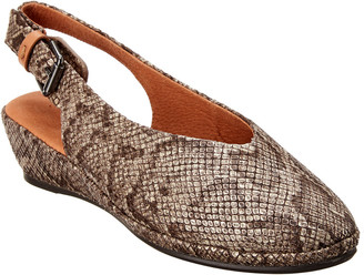Gentle Souls By Kenneth Cole Noemi Demi-Wedge Snake-Embossed Leather Slingback Pump