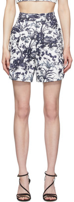 Erdem White and Navy Howard Tailored Shorts