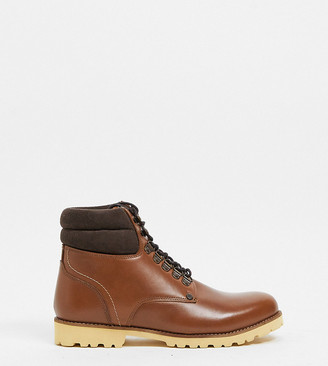Original Penguin wide fit padded collar lace up boots in tan leather