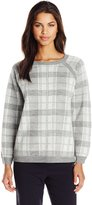 Leo & Nicole Women's Missy Plaid Boat Neck Pullover Sweater