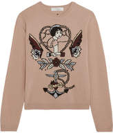 Valentino Intarsia Wool And Cashmere-blend Sweater - Blush
