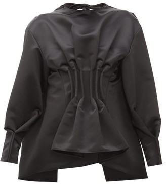 A.W.A.K.E. Mode Gathered Peplum-ruffle Satin Top - Womens - Black