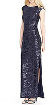 Lauren Ralph Lauren Cap Sleeve Sequined Floral Gown