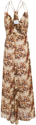 Nanushka Eden Cutout Printed Cotton-voile Maxi Slip Dress