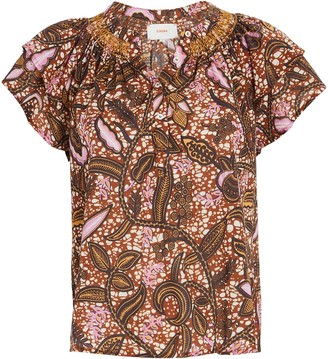 XiRENA Sumer Batik Ruffle Cotton Top