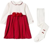 Emile et Rose Ivory and Red Rosette Dress with Tights