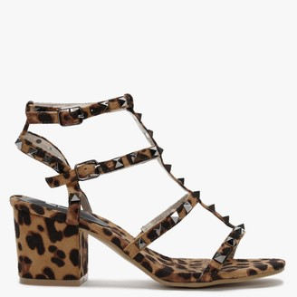 Moda In Pelle Mima Leopard Studded Block Heel Sandals