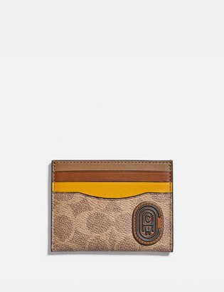 Coach Card Case In Colorblock Signature Canvas With Patch