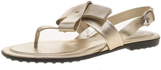 Tod's Metallic Gold Leather Bow Detail Flat Thong Sandals Size 37.5