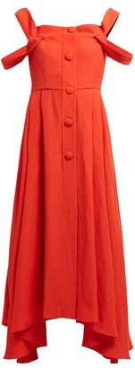 Isa Arfen Positano Off-the-shoulder Crepe Midi Dress - Womens - Red