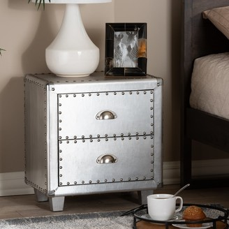 Baxton Studio French Industrial 2-Drawer Nightstand