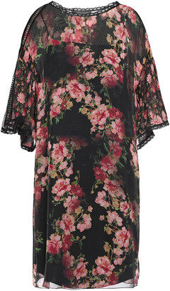 Alberta Ferretti Guipure Lace-trimmed Floral-print Silk-voile Mini Dress