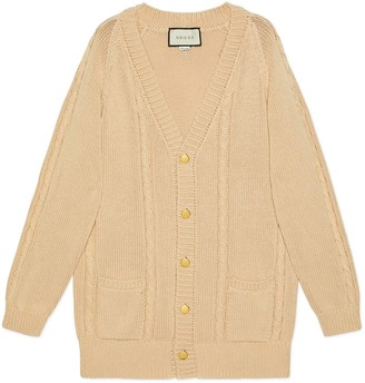 Gucci Cable knit cotton cardigan