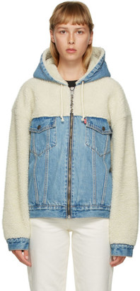 Levi's Levis Off-White and Blue Sherpa Hooded Hybrid Trucker Jacket