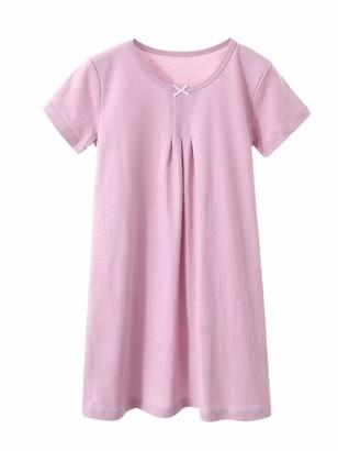 HOYMN Girls Nighties Nightdress Toddler Long Short Sleeves Nightgowns Soft Cotton Sleep Dress Princess Nightwear for Kids 3-12 Year