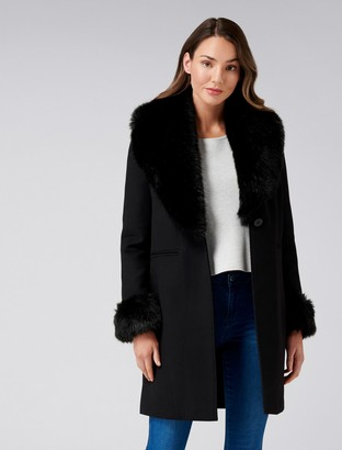 Forever New Aurora Fur cuff crombie - Black - 4