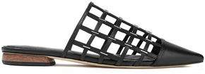 Sigerson Morrison Eddi Cutout Embellished Leather Slippers