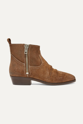 Golden Goose Viand Embroidered Suede Ankle Boots - Brown