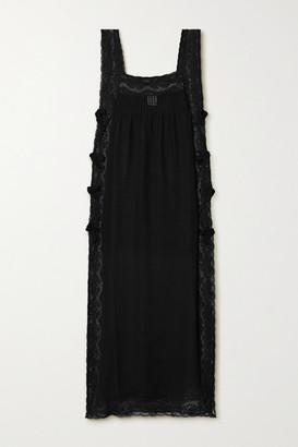 Loretta Caponi Fiocchini Lace-trimmed Silk-georgette Nightdress - Black