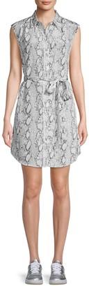 Frame Snakeskin-Print Tie-Waist Silk Shirtdress