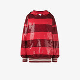 Ashish Sequin stripe oversized hoodie