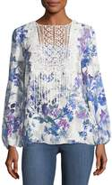 T Tahari Lace-Trim Blouse