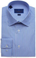 David Donahue Men's Trim-Fit Classic Stripe Dress Shirt