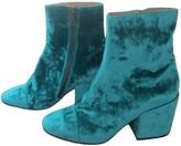 Dries Van Noten Turquoise Velvet Ankle boots