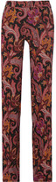 Etro Printed Stretch-jersey Wide-leg Pants - Burgundy