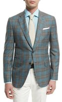 Isaia Plaid-Windowpane Two-Button Jacket, Gray/Aqua