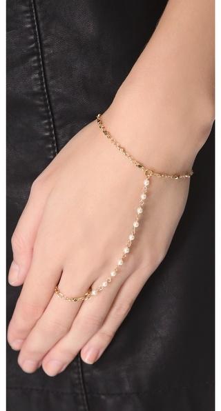Jacquie Aiche White Pearl Vintage Chain Finger Bracelet