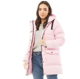Thumbnail for your product : Brave Soul Womens Snow Stars Long Length Padded Jacket Dusky Pink/Black