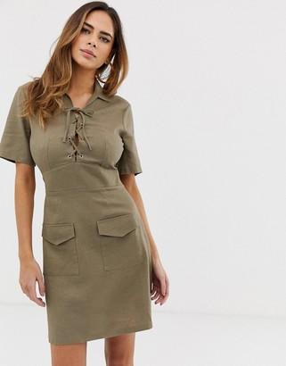Asos Design DESIGN lace up utility mini shirt dress-Green