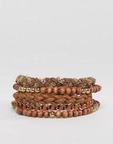 Asos Multi Beaded Bracelet Pack In Brown And Gold