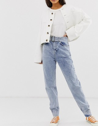 ASOS DESIGN ritson rigid mom jeans in light vintage wash with belted waist and cuff hem detail