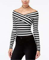 Material Girl Juniors' Striped Off-The-Shoulder Bodysuit, Only at Macy's