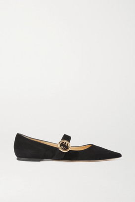 Jimmy Choo Gela Buckled Suede Point-toe Flats - Black