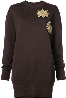 Vera Wang Metallic Patches Loose-Fit Jumper