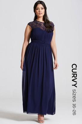 Little Mistress Curvy Navy Sheer Lace Maxi Dress