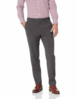 J.M. Haggar Men's Solid Gab 4-Way Stretch Slim Fit Flat Front Dress Pant