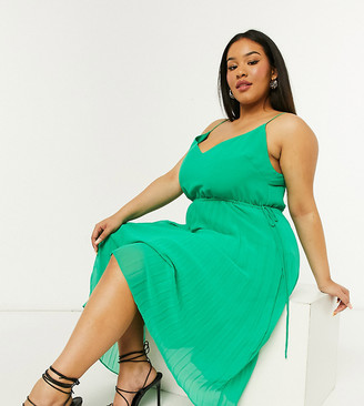 ASOS DESIGN Curve pleated cami midi dress with drawstring waist in green